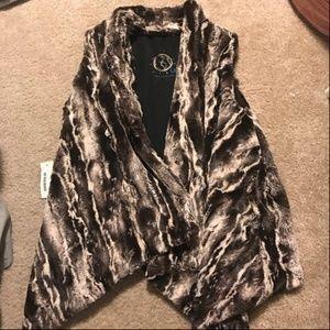 Blue Life Brown Faux Fur Vest Size S